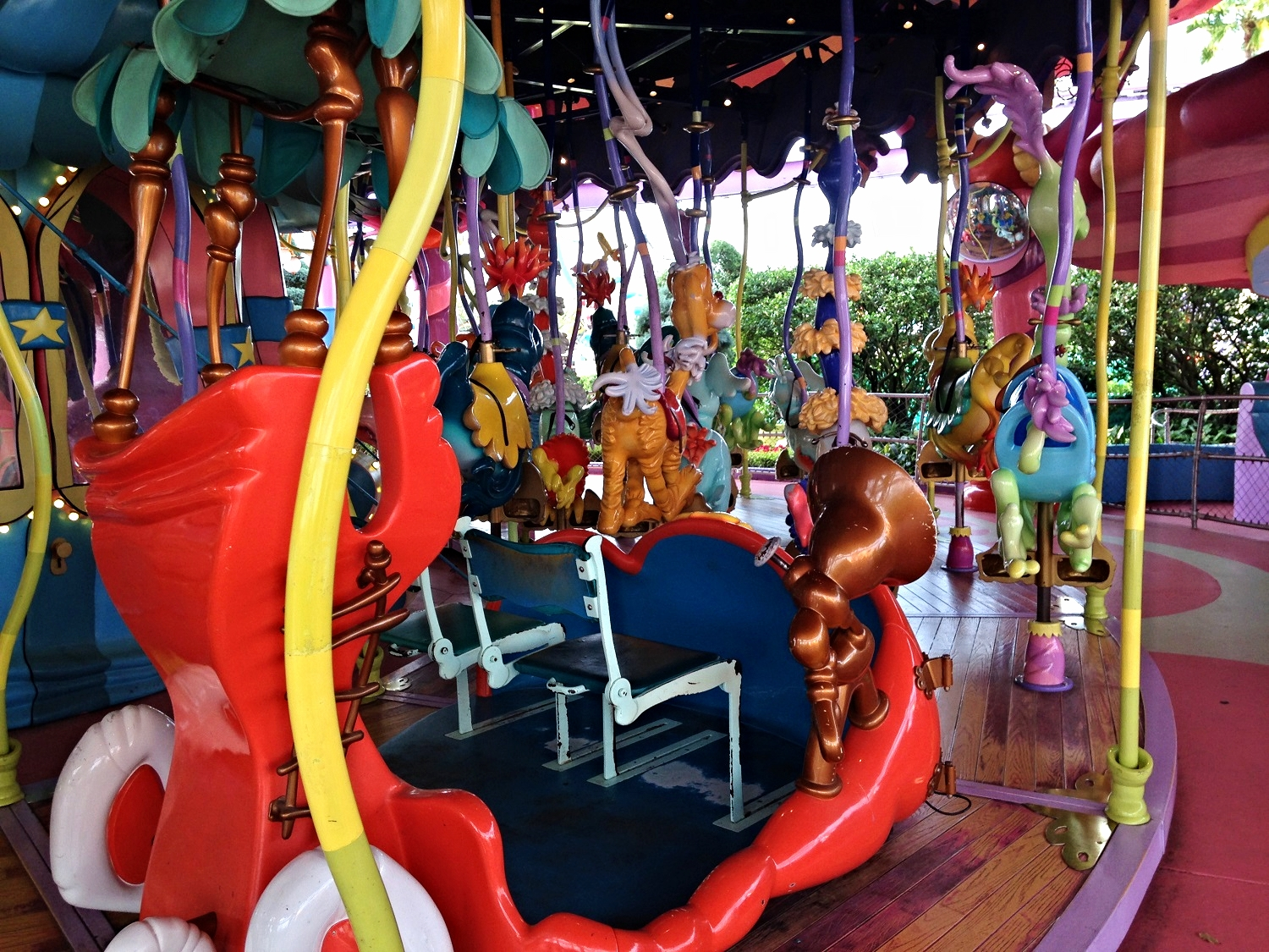 Some of the ride seats on the Caro-Seuss-El are more accessible than others.