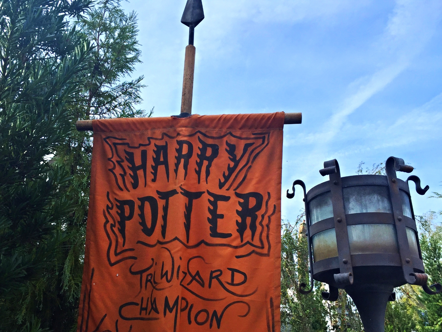 Harry Potter Banner Near the Dragon Challenge Ride