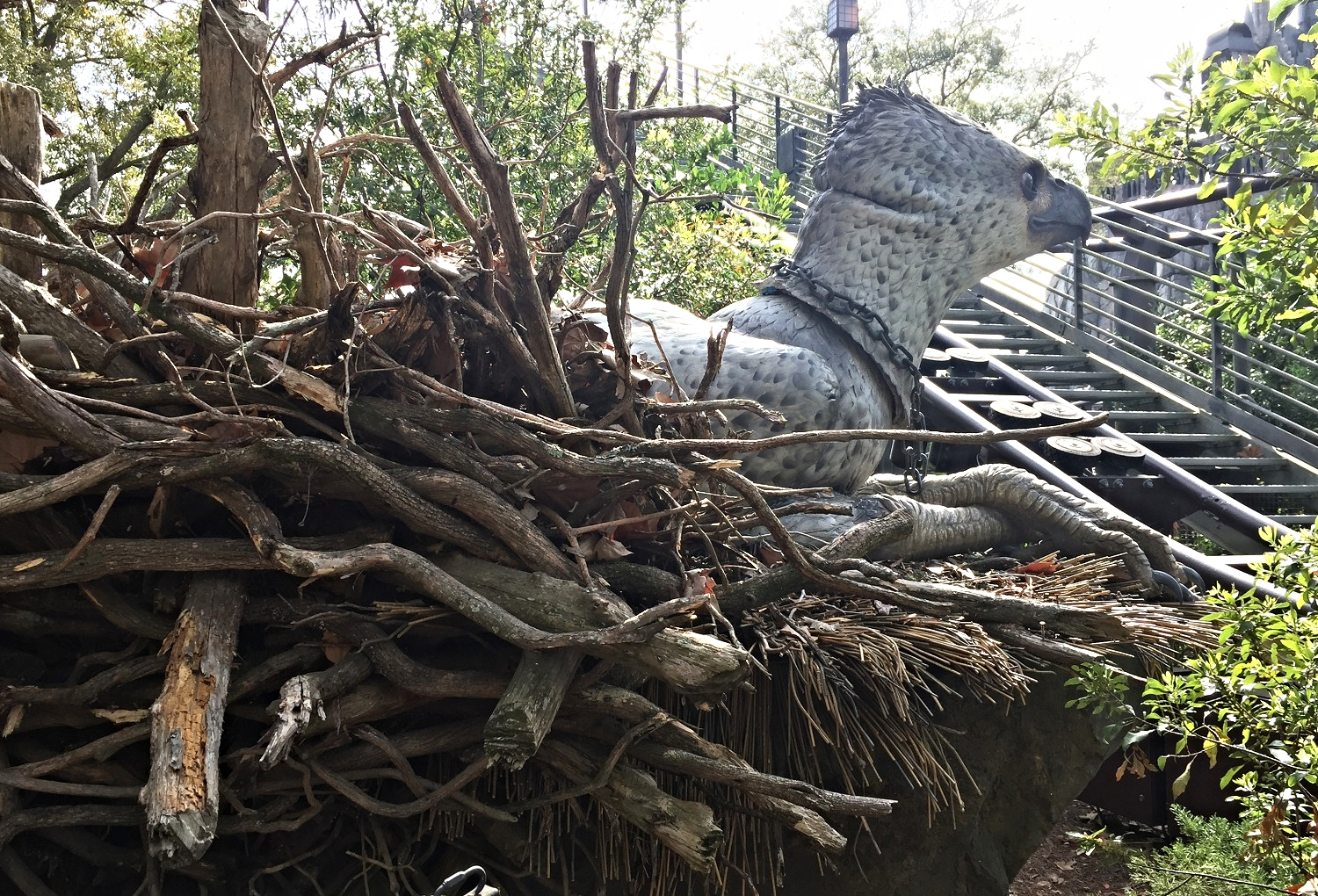 You can see a Hippogriff in his nest from the queue and the ride.