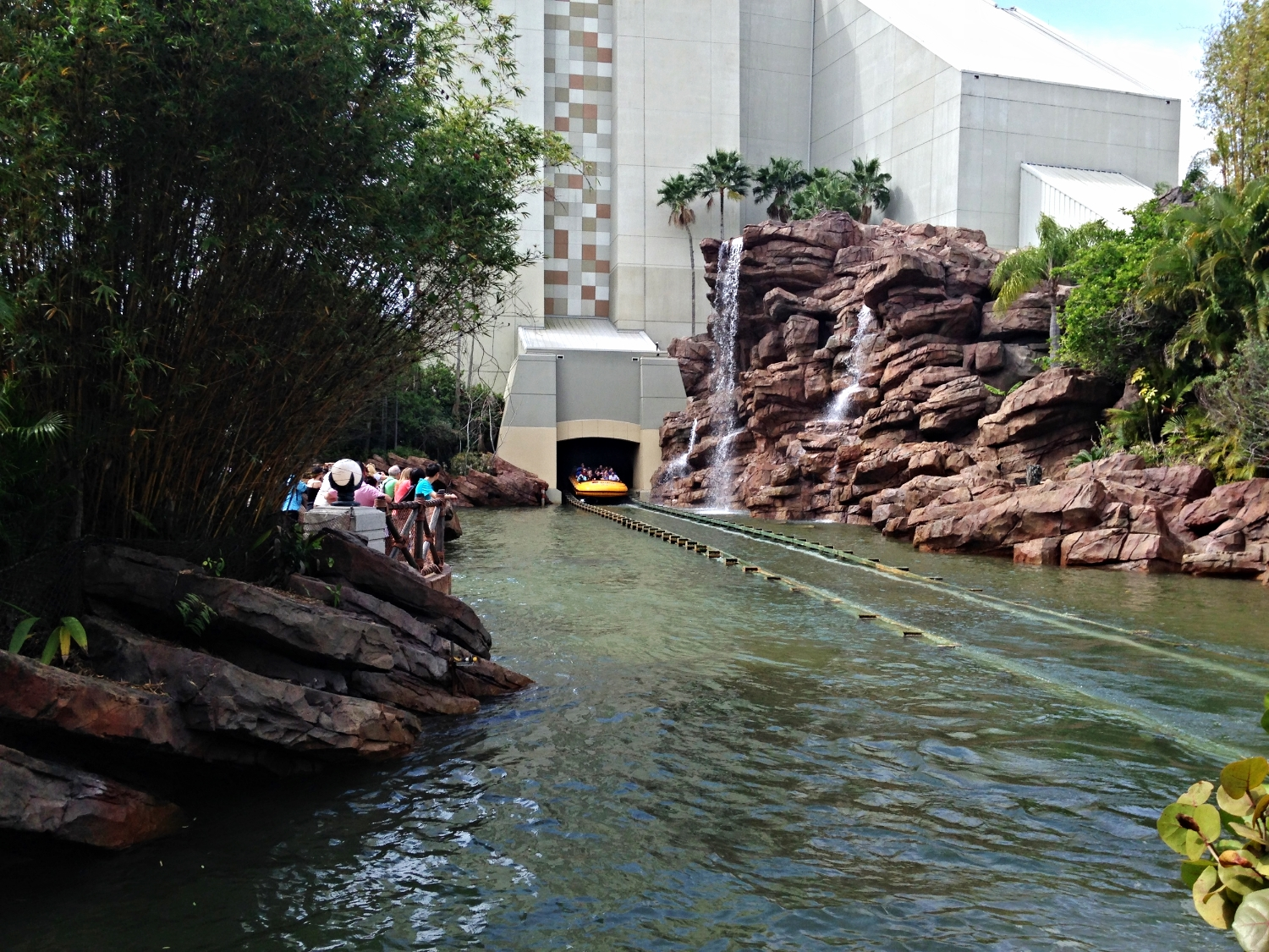 Jurassic Park River Adventure Ride Vehicle Before it Hits the Water