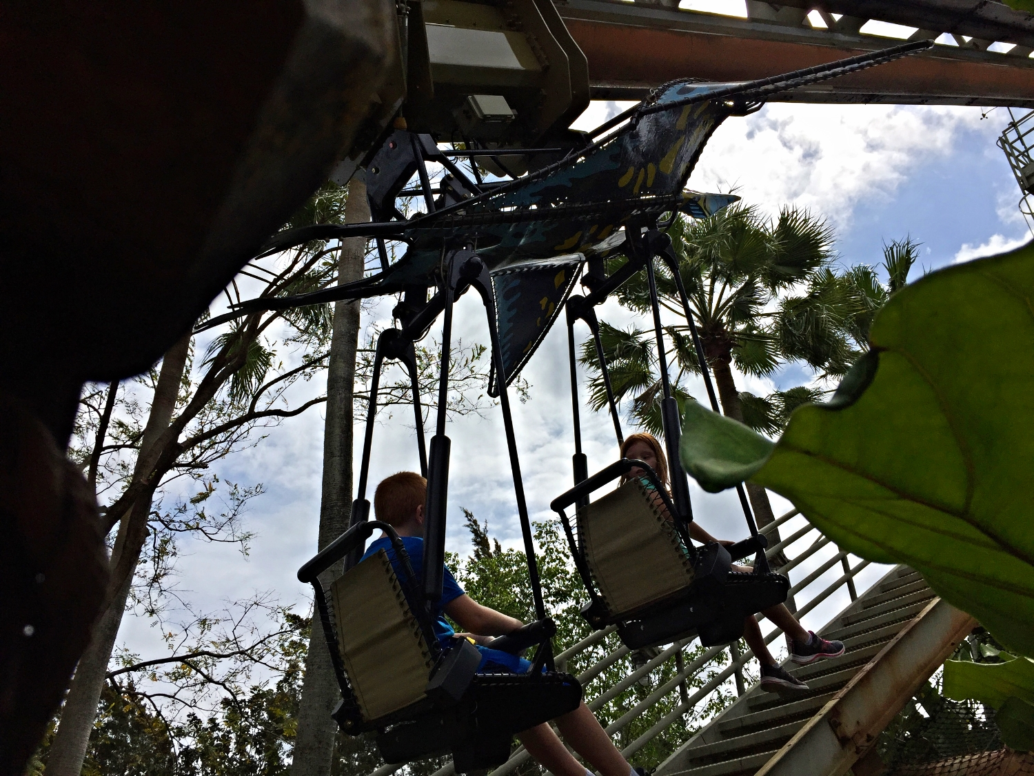 Going up the Lift Hill on Pteranodon Flyers