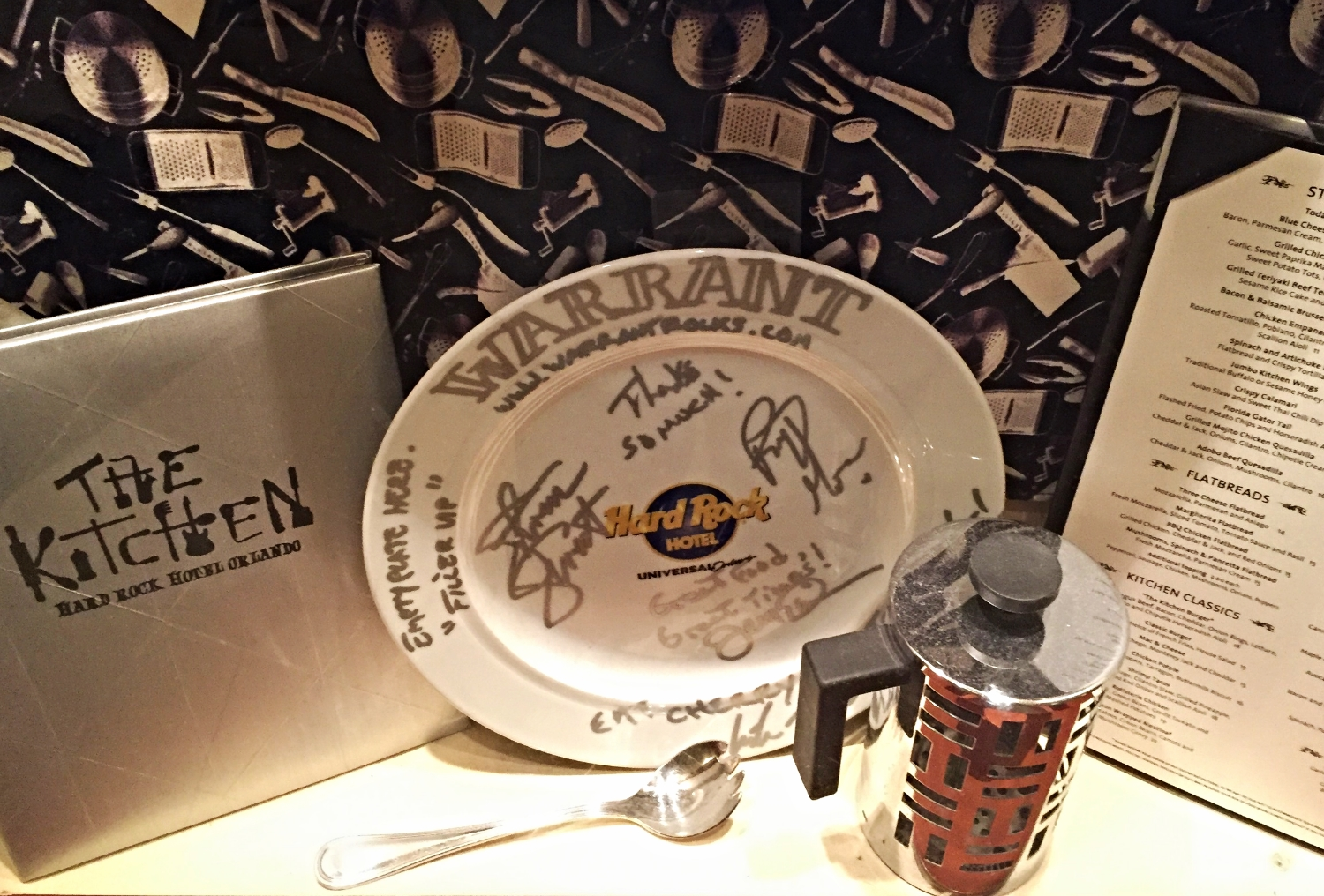 Warrant Memorabilia at The Kitchen in Hard Rock Hotel Orlando