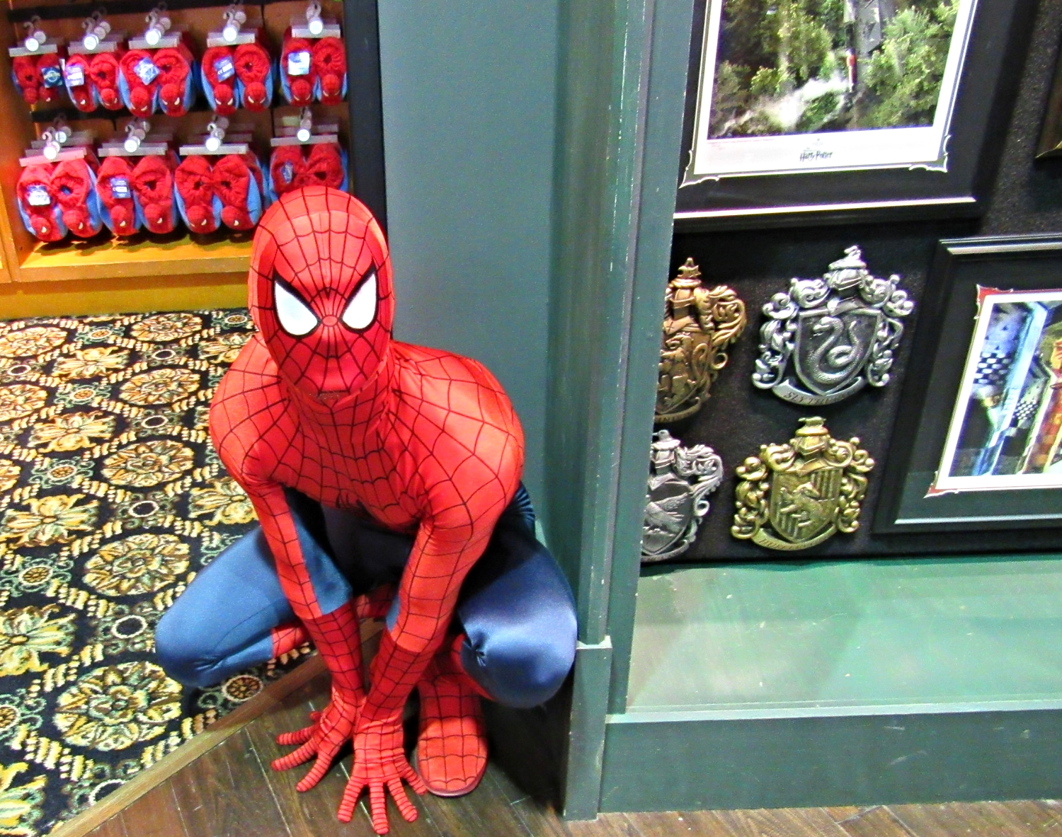 Spider-Man crouching in the Islands of Adventure Trading Company in Port of Entry