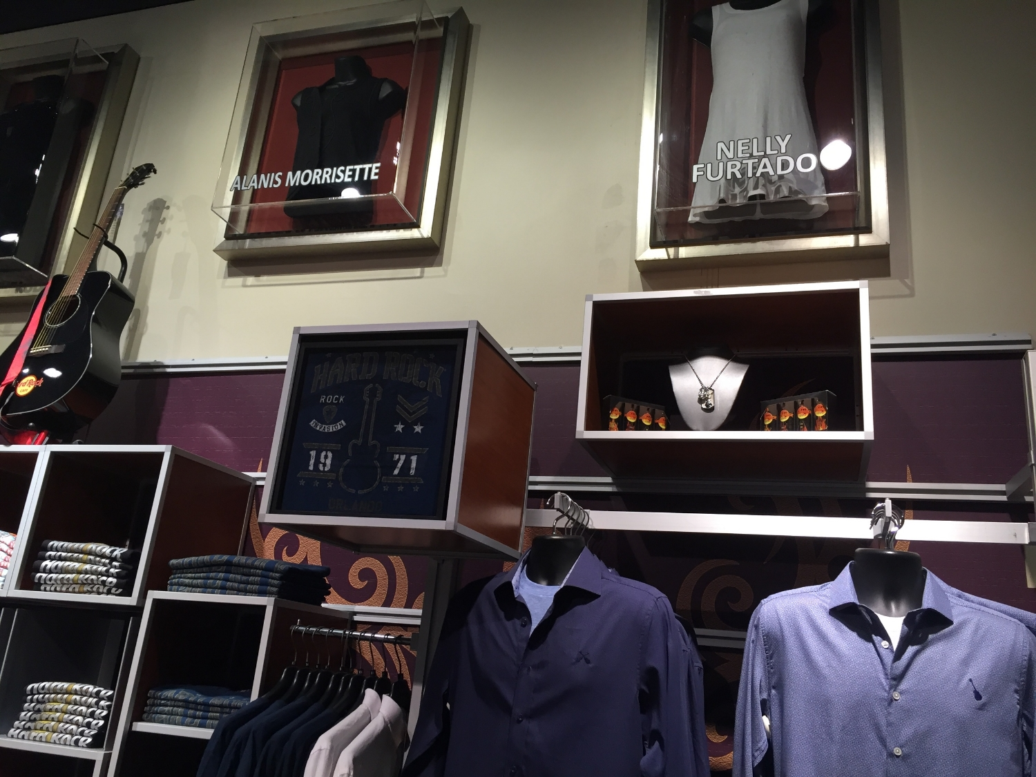 Famous Music Artist Items on Display at Rock Shop in Hard Rock Hotel Orlando