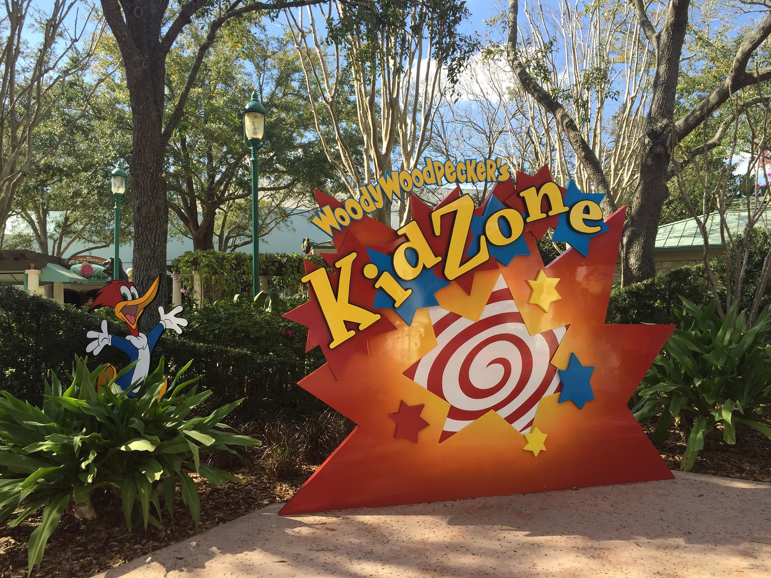 Woody Wodpecker's KidZone sign in Universal Studios Florida.