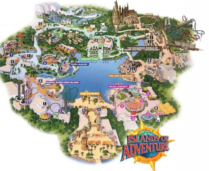 Islands of Adventure map. Image credit: Universal Orlando Resort