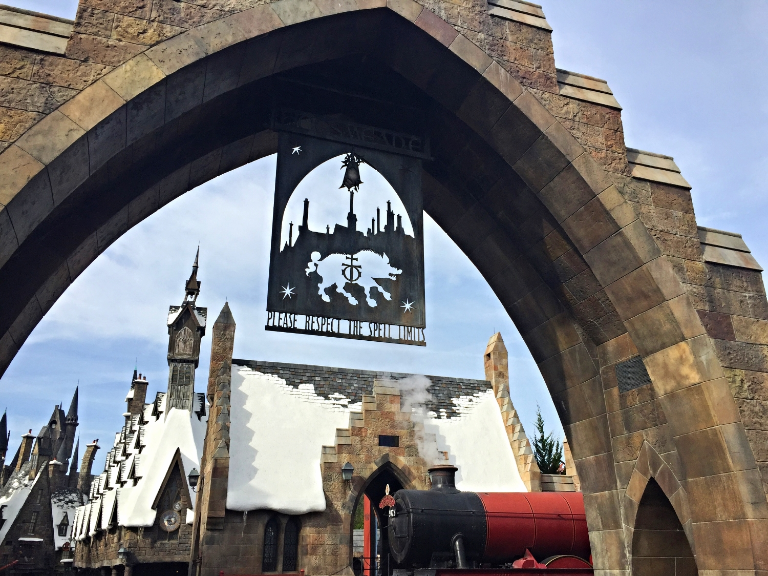 The entrance of The Wizarding World of Harry Potter - Hogsmeade in Islands of Adventure.