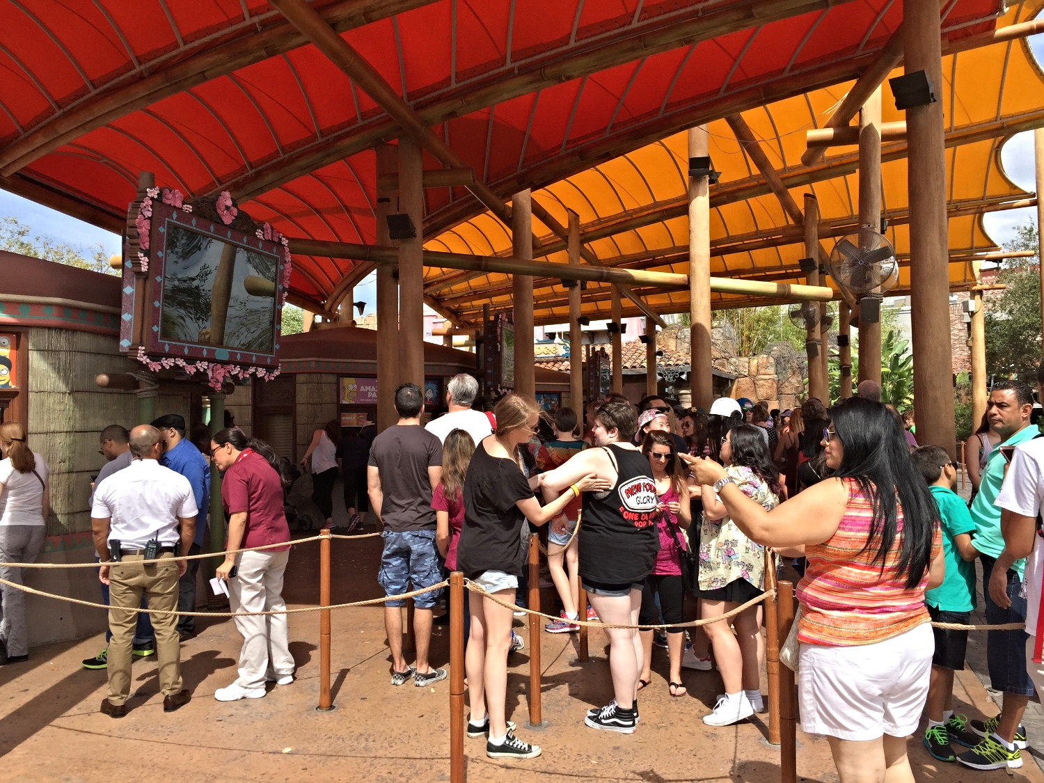 Buy your park tickets in advance so you don't have to wait in a line like this one.