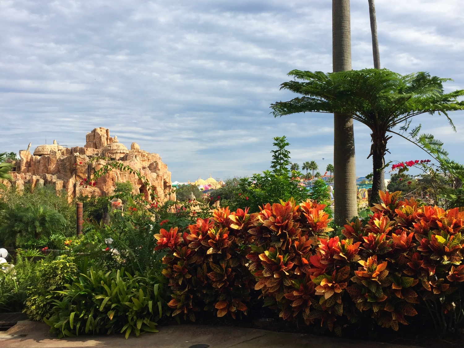 The area behind the Jurassic Park Discovery Center is a great place to escape the crowds and see a nice view.