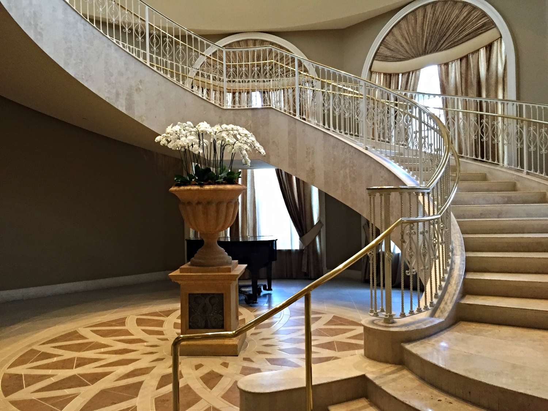 Bottom of Portofino Bay Resort Spiral Staircase