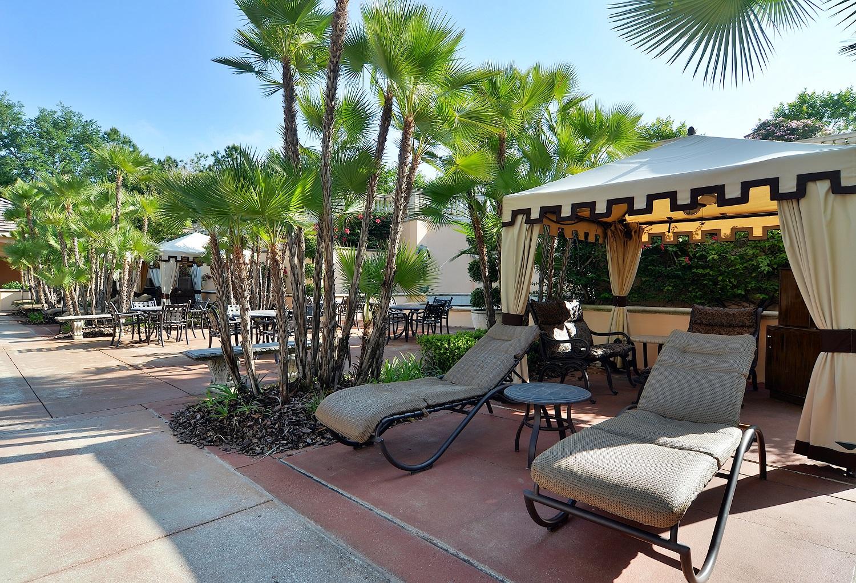 Private poolside cabanas at Loews Portofino Bay Resort. Image credit: Loews Hotels.