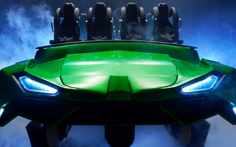 he Incredible Hulk Coaster ride vehicles. Image credit: Universal Orlando Resort.