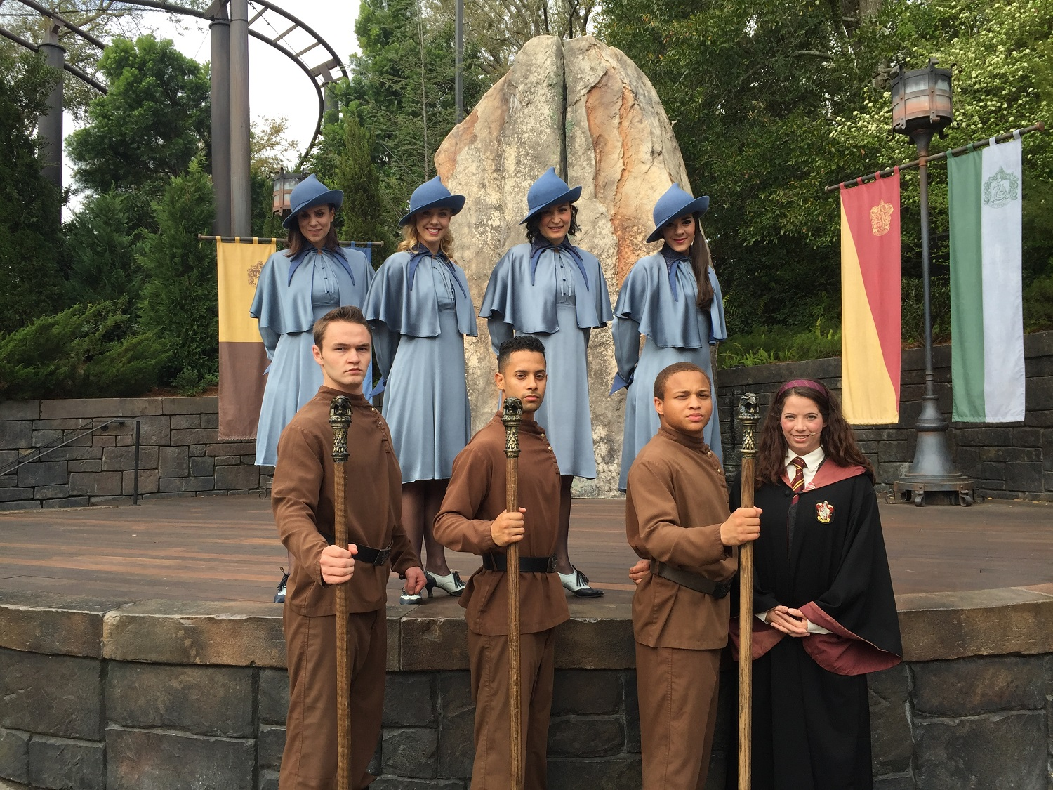 The Triwizard Spirit Rally is a live show featuring students from Hogwarts School of Witchcraft and Wizardry, Durmstrang Institute, and Beauxbatons Academy of Magic.
