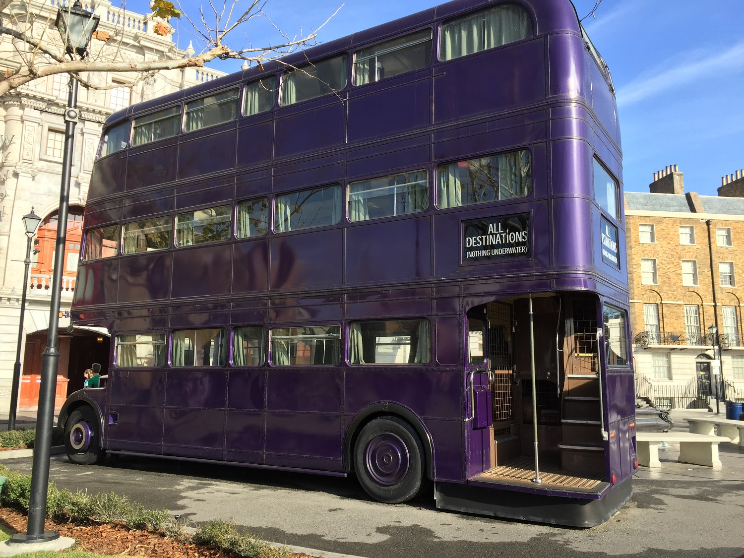 The Knight Bus is a triple-decker bus from the Harry Potter films. You can interact with the conductor and his sidekick, a shrunken head.