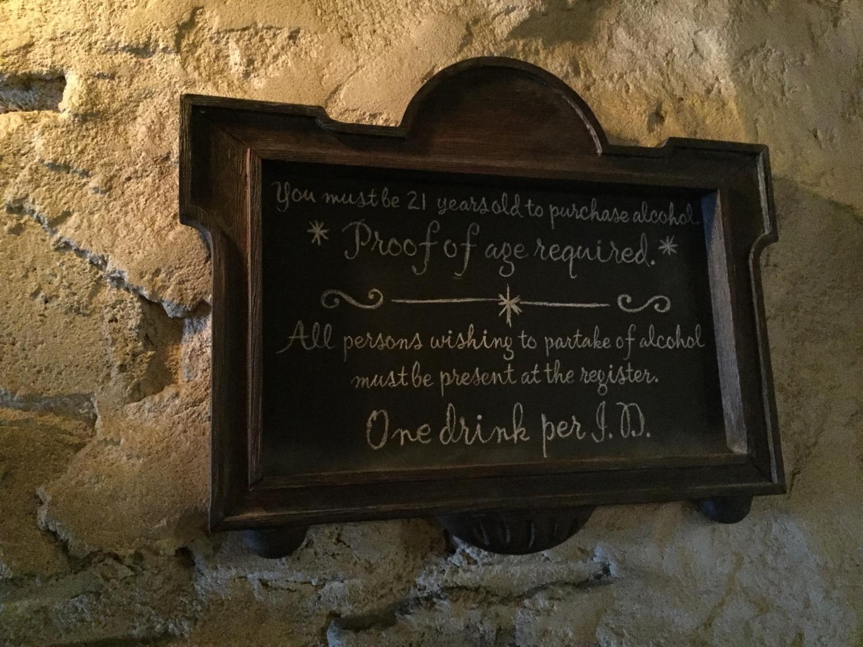 Leaky Cauldron Alcohol Sign