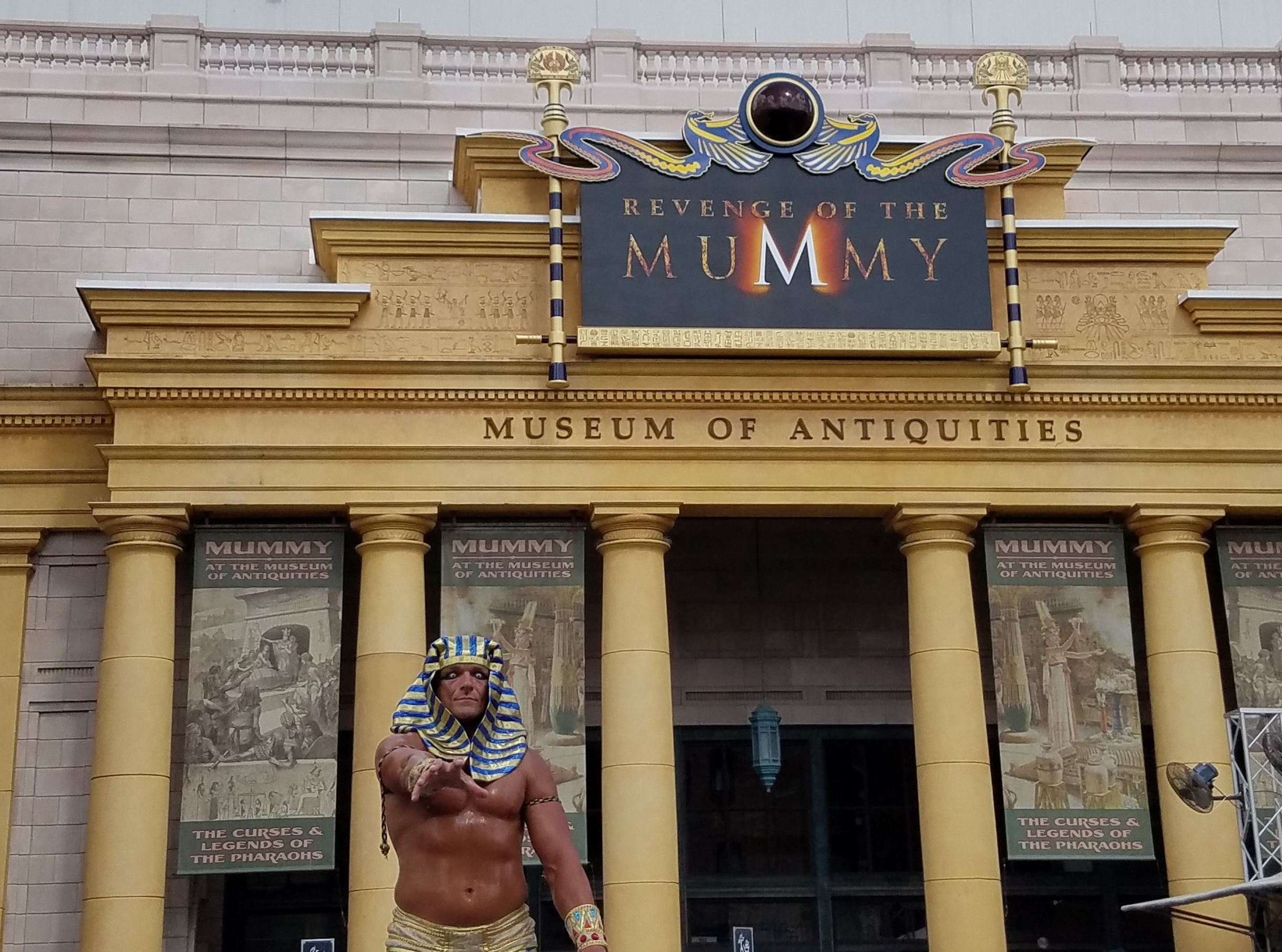 Revenge of the Mummy ride facade and character meet and greet.