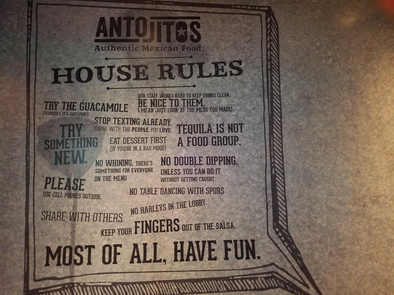 Antojitos House Rules