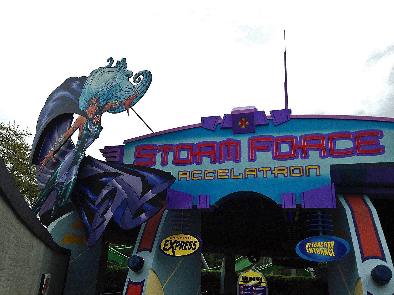 Storm Force Accelatron ride entrance.