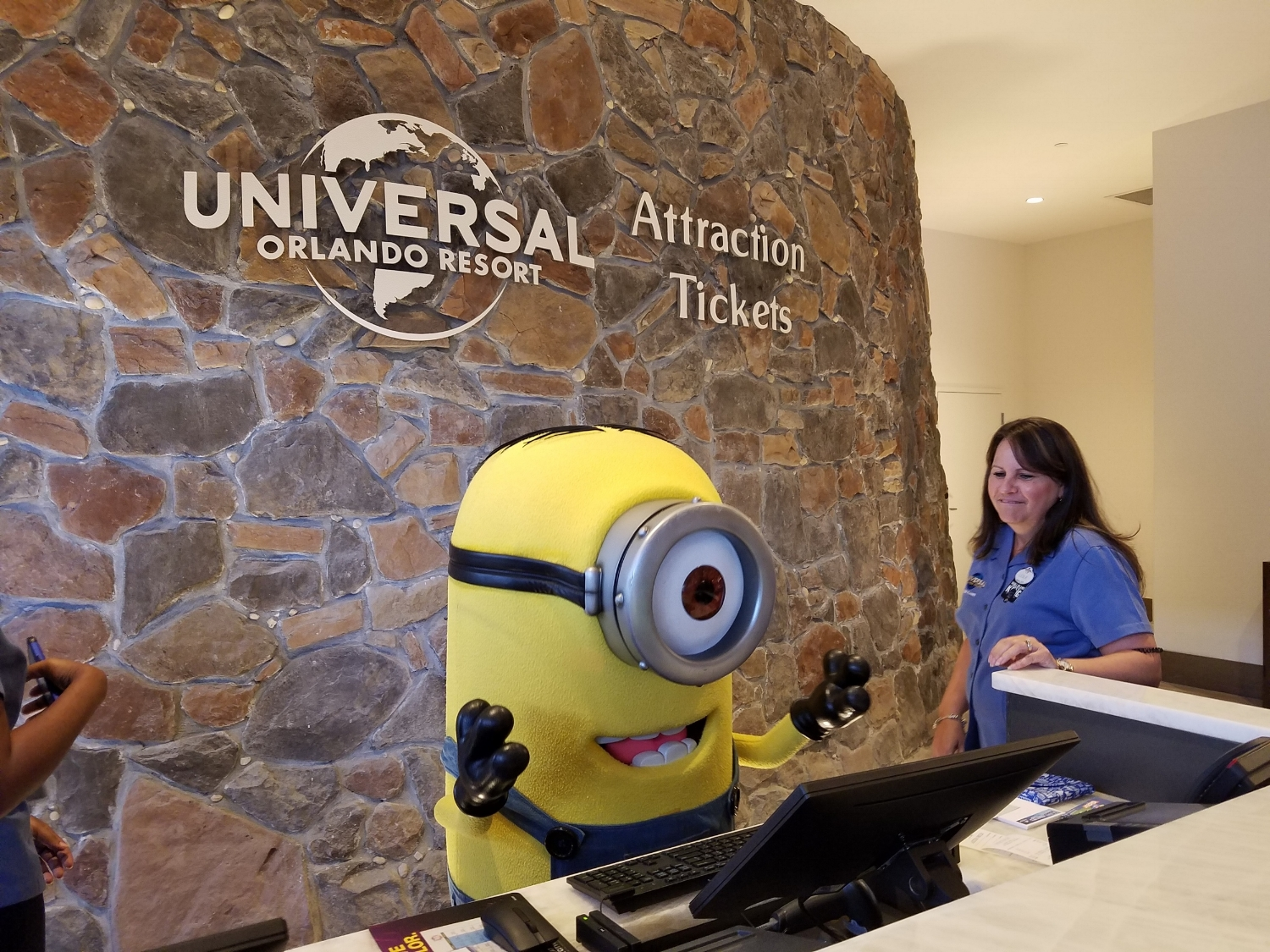 Minion Training at the Attraction Ticket Desk in Loews Sapphire Falls Resort