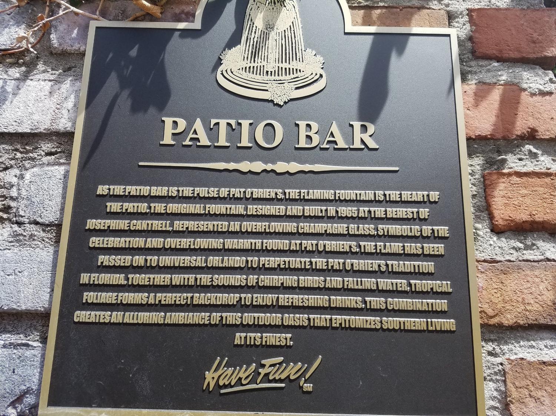 Pat O'Brien's Patio Bar Plaque