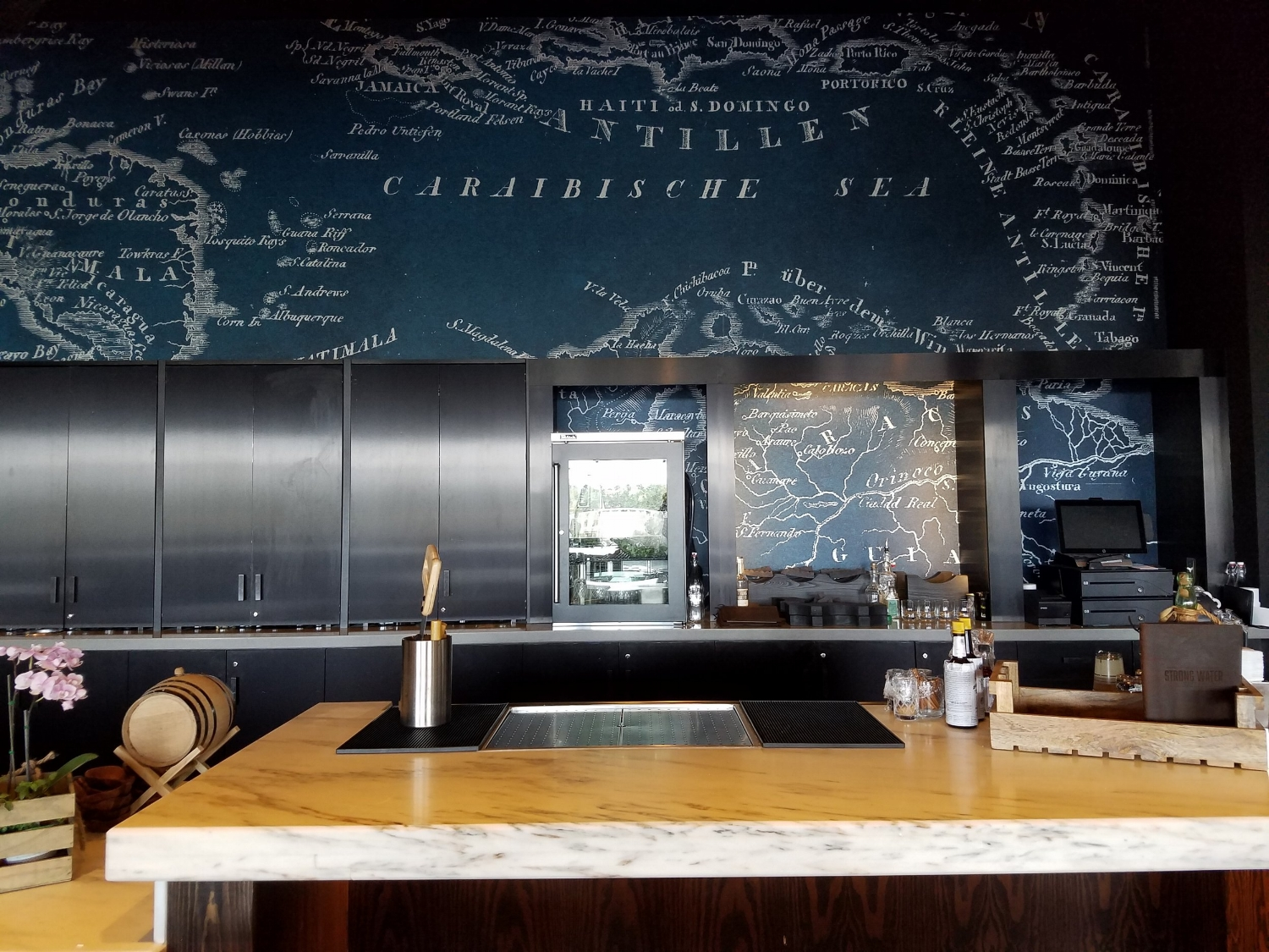 Caribbean Map Behind the Bar in Strong Water Tavern