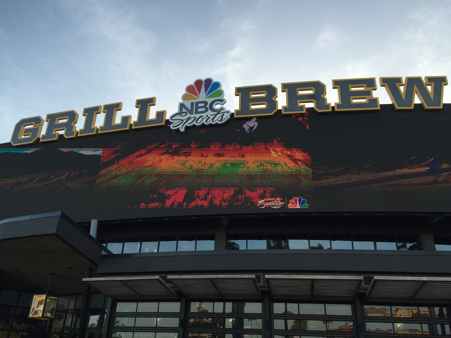 Giant Exterior Video Screen at NBC Sports Grill & Brew