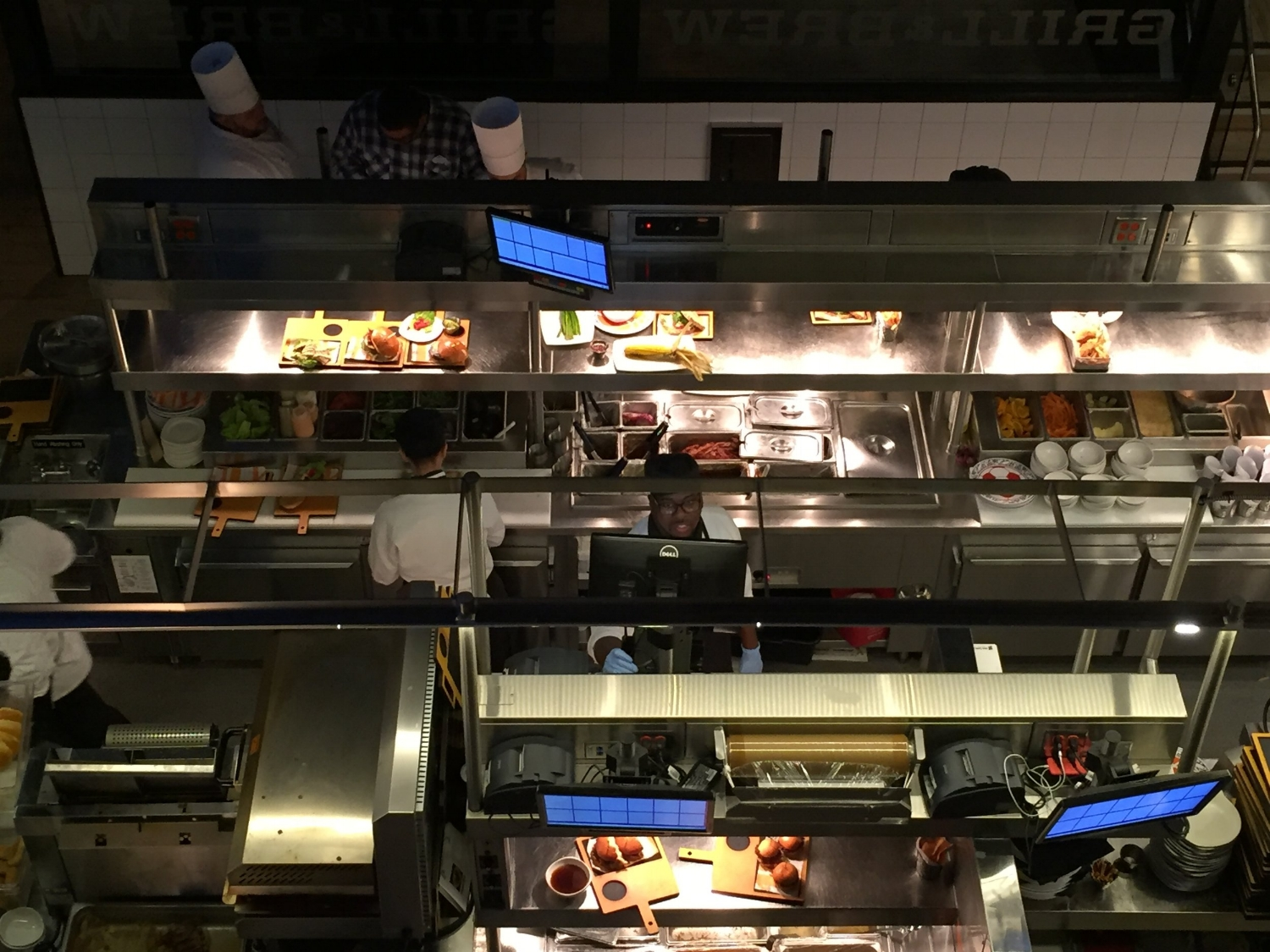 View into the NBC Sports Grill & Brew Kitchen from the Second Floor