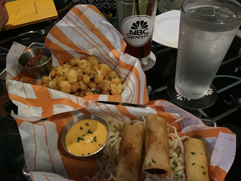 Crispy Ruben Rolls & Wisconsin Cheese Curds at NBC Sports Grill & Brew