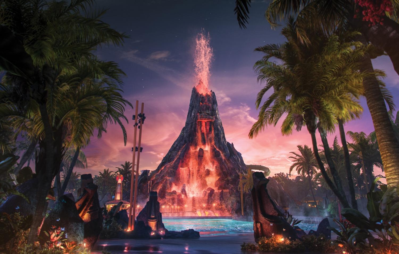 Universal's Volcano Bay at Night