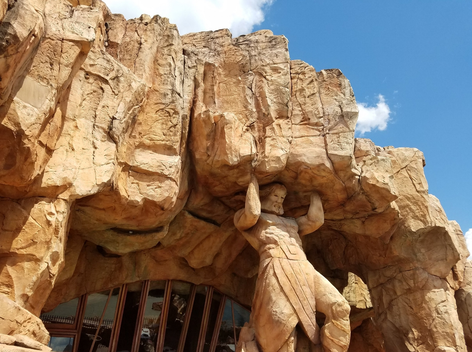 Part of the back exterior of Mythos Restaurant.