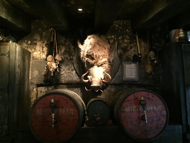 The hog's head behind the bar at the Hog's Head.