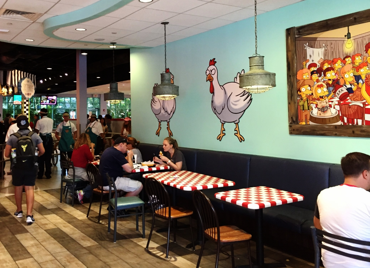 Part of the dining area in Krusty Burger is themed for Cletus' Chicken Shack.