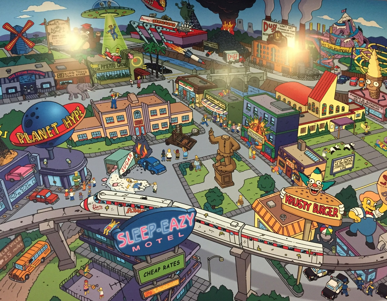 Springfield Mural Inside Fast Food Blvd