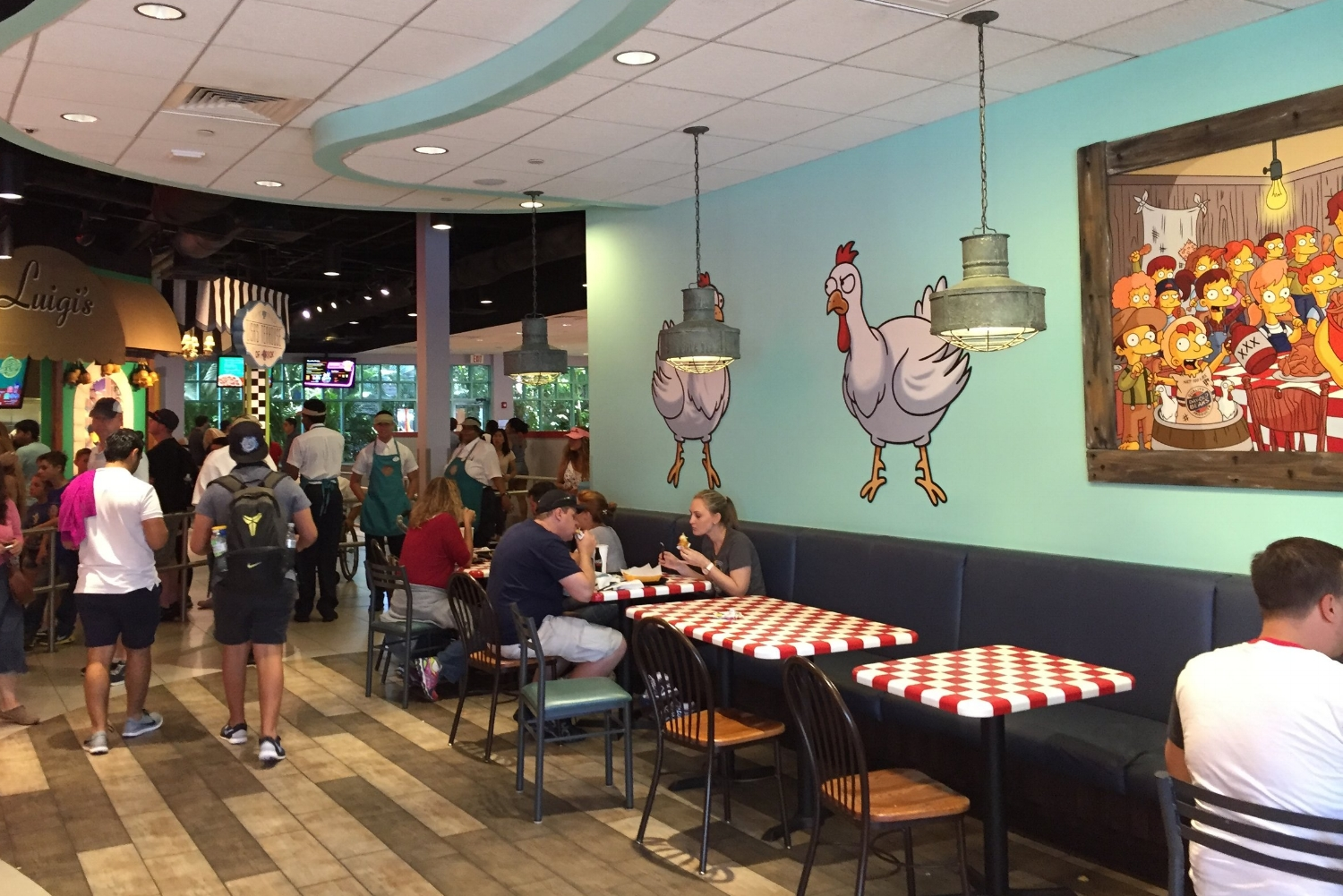 Seating Near the Ordering Stations at Fast Food Blvd