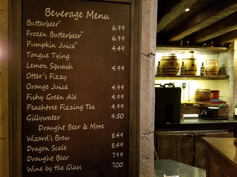 Leaky Cauldron beverage menu.