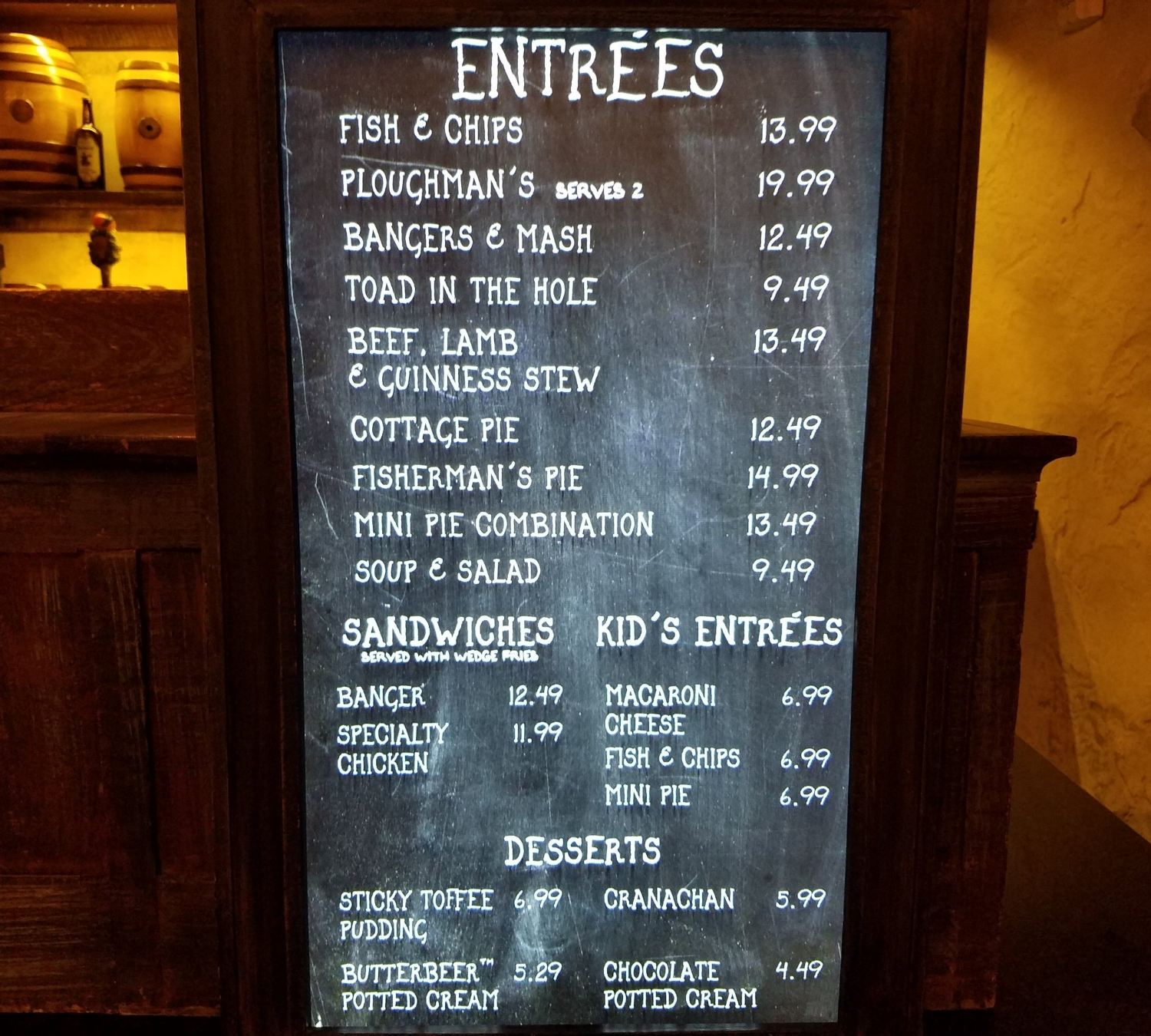 Leaky Cauldron Menu Prices Theming And More Uo Fan Guide