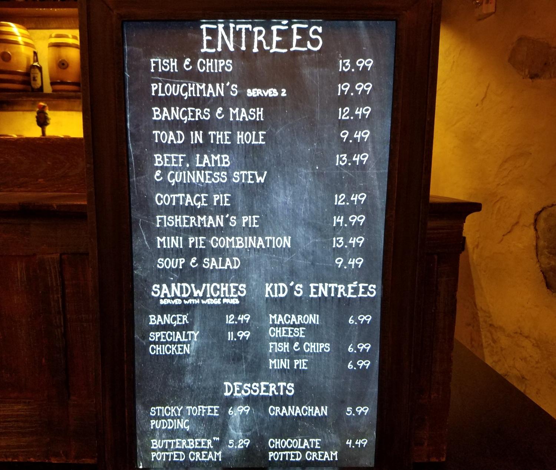 Entree Menu at the Leaky Cauldron