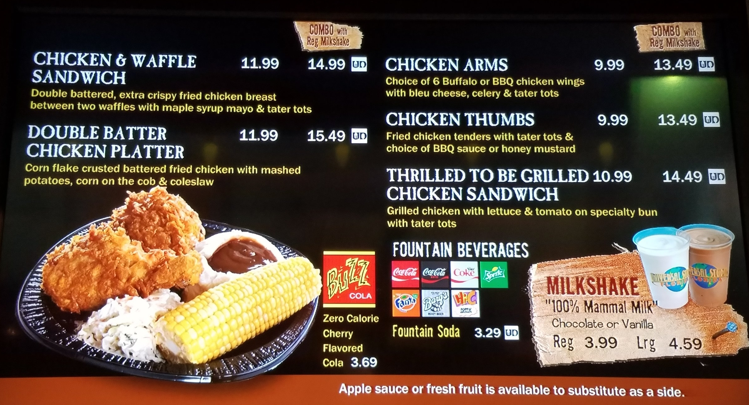 Cletus' Chicken Shack menu with prices.