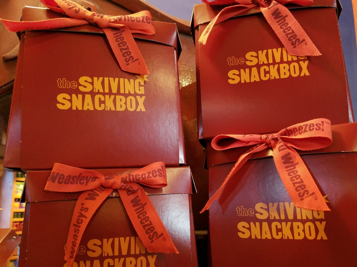 Skiving Snackboxes from Weasley's Wizarding Wheezes in Diagon Alley.