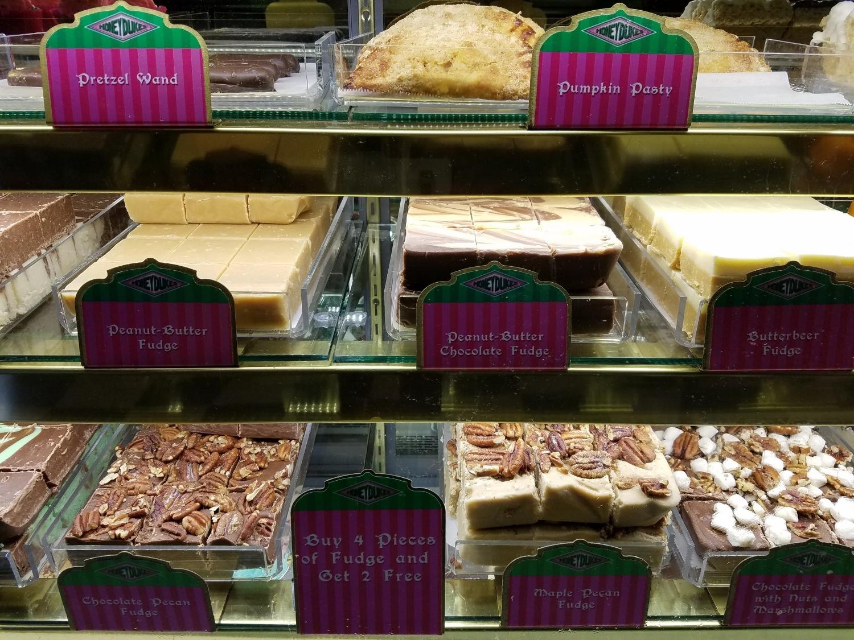 Bakery treats and fudge from from Honeydukes.