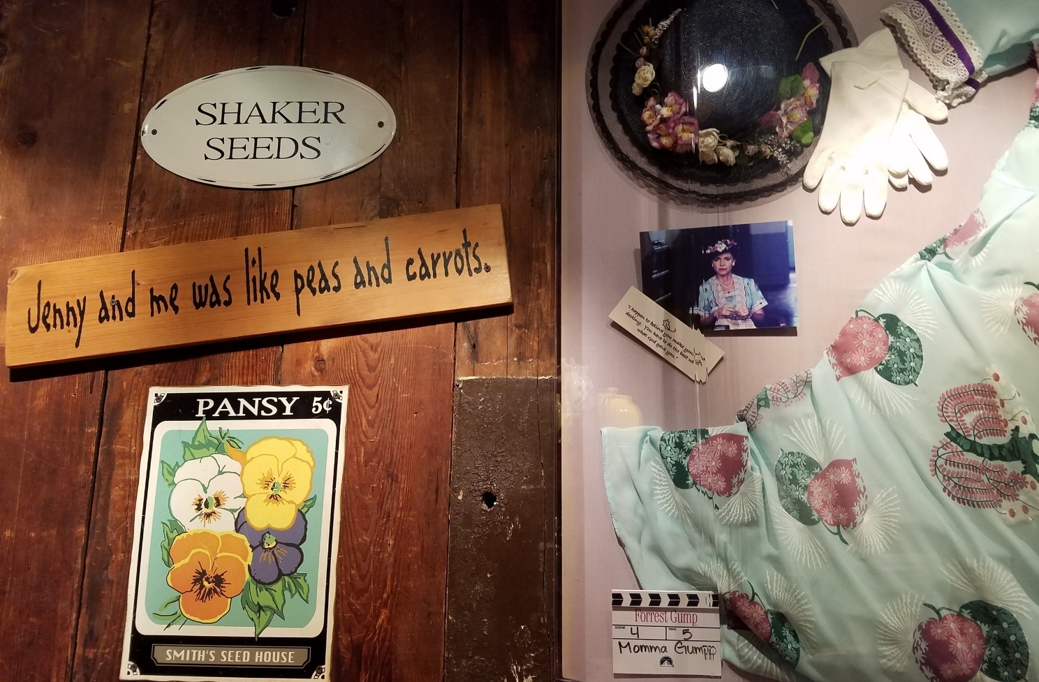 Example of some of the props and references to the Forrest Gump movie in Bubba Gump Shrimp Co.