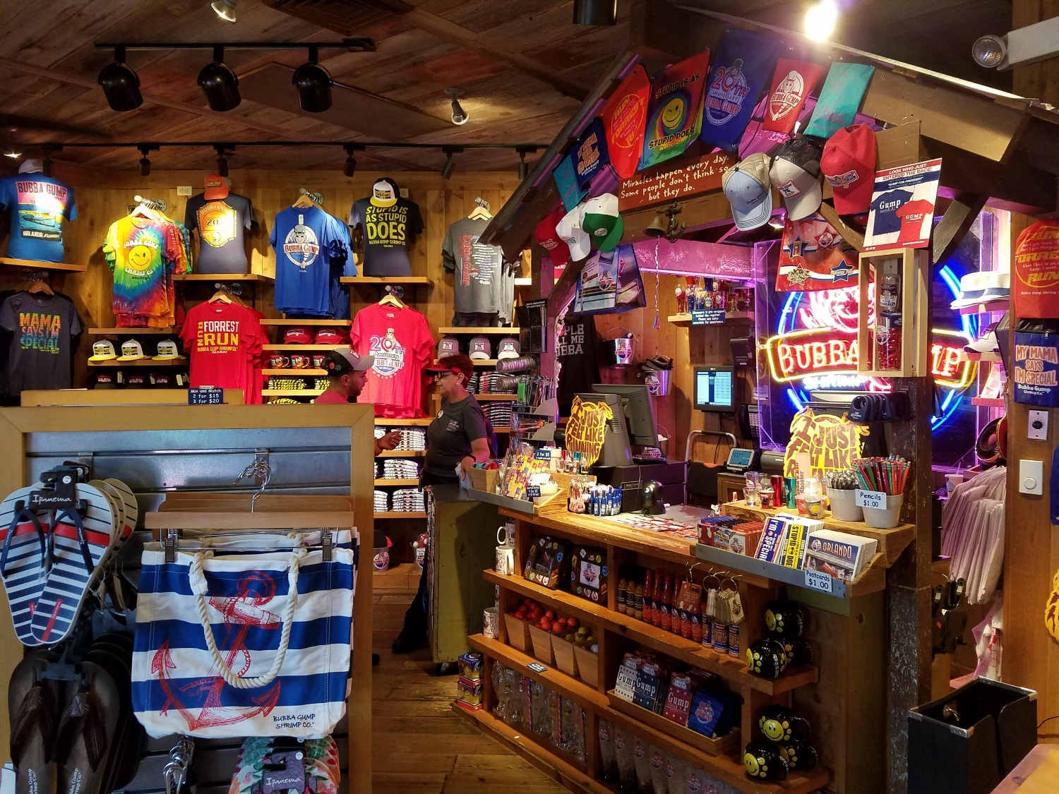 Bubba Gump Shrimp Co. retail store counter and merchandise