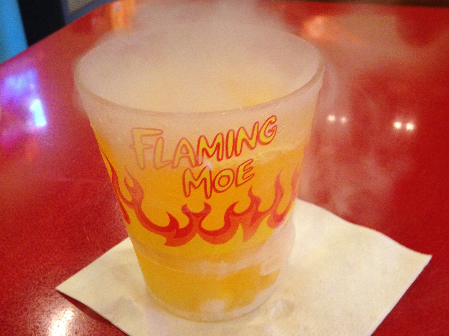 The Flaming Moe drink.
