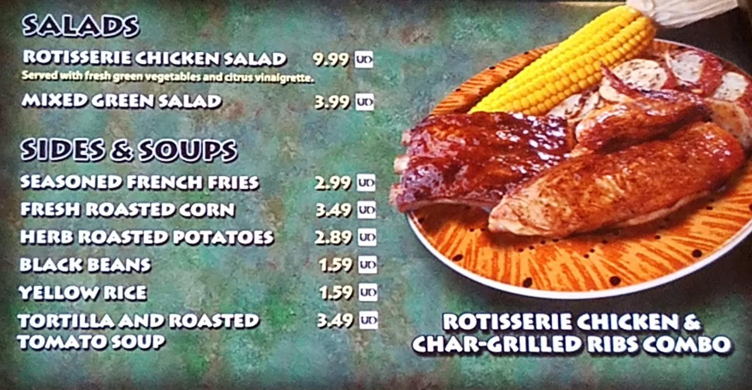 Thunder Falls Terrace Menu With Salads, Sides, and Soups