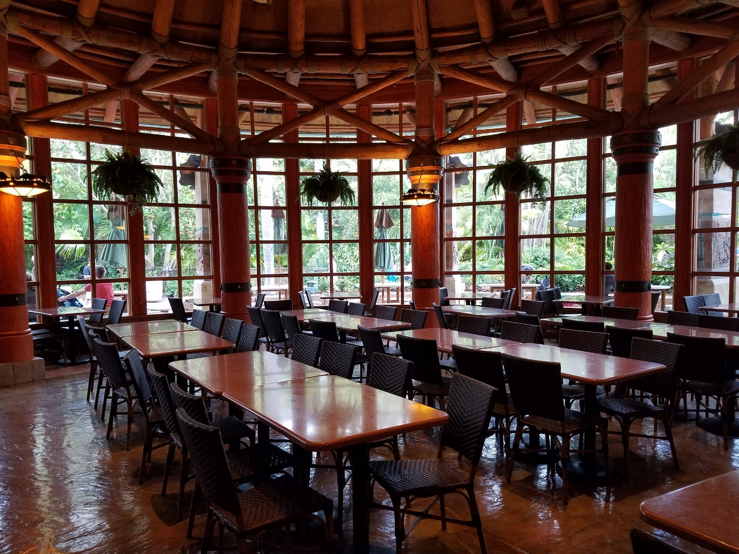 Indoor seating at Thunder Falls Terrace in Jurassic Park.