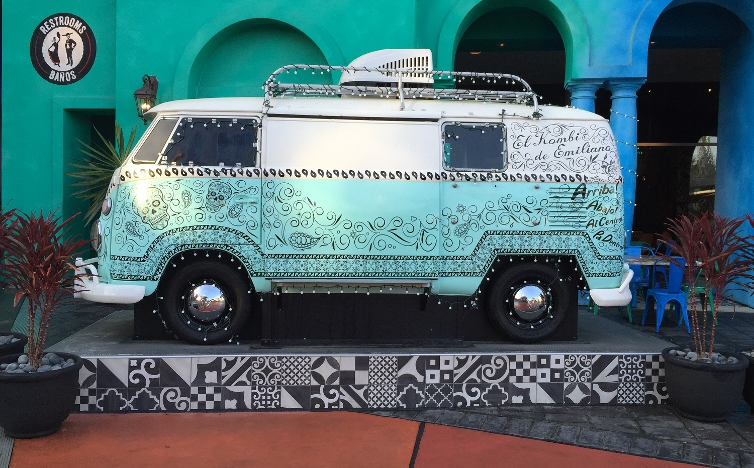 The VW van parked in front of Antojitos.