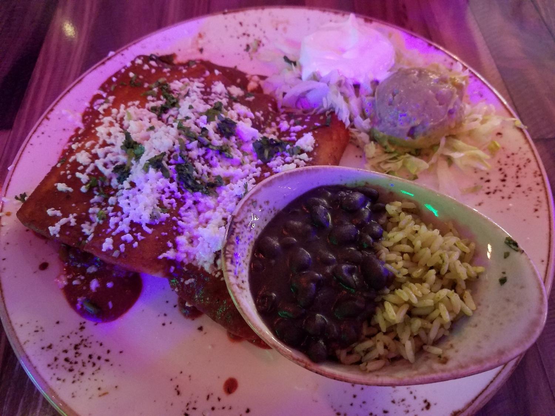Mole (beef machaca, house made mole sauce, queso fresco, cilantro) from Antojitos