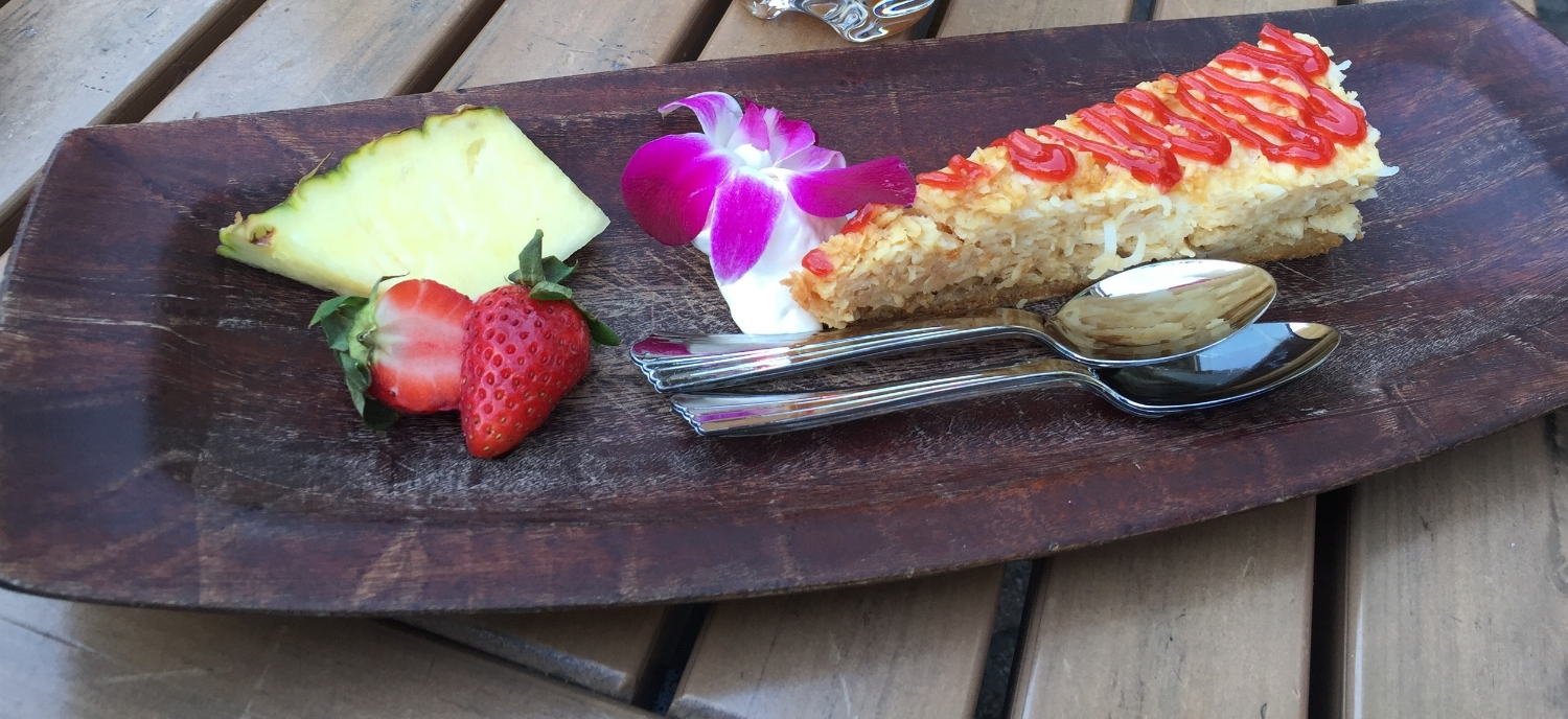 Coconut cake with strawberry salsa and fresh pineapple at Bob Marley - A Tribute to Freedom.