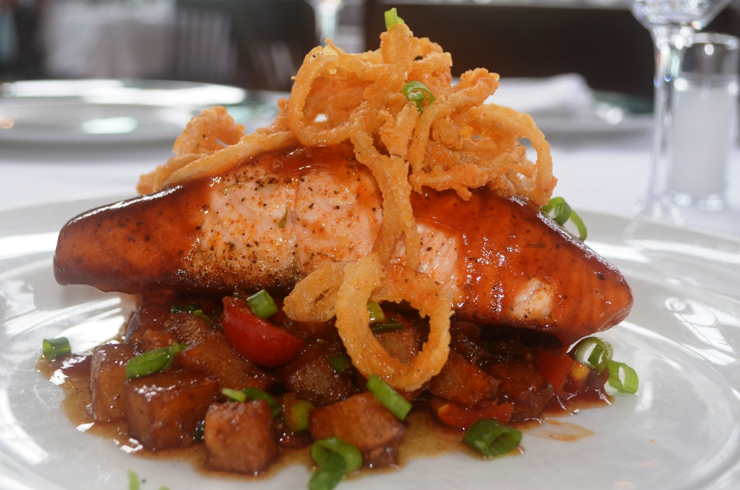 Sweet Barbecue Roasted Salmon from Emeril's Orlando. Image credit: Emeril's Orlando.