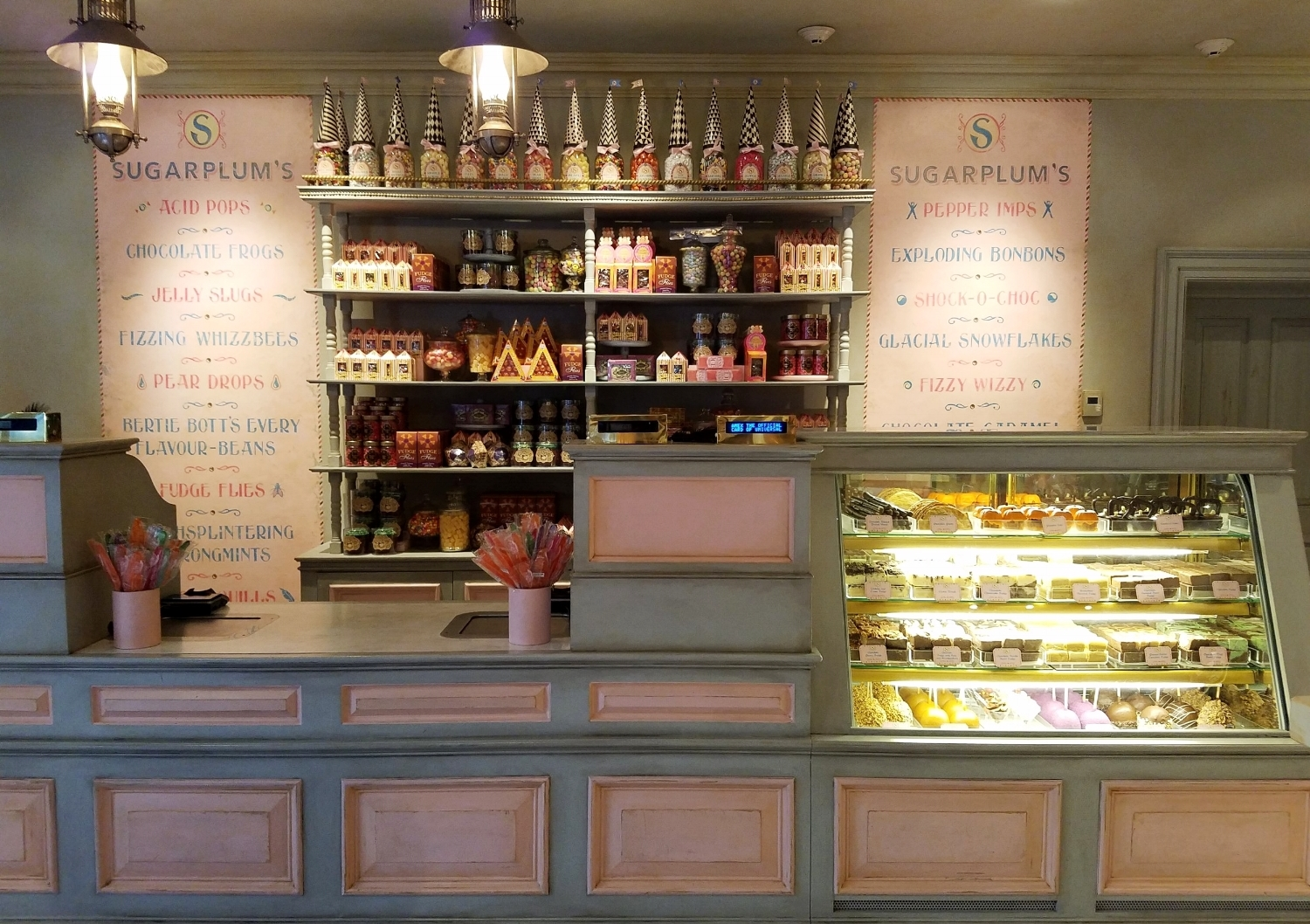Sugarplum's Sweet Shop candy list and counter.